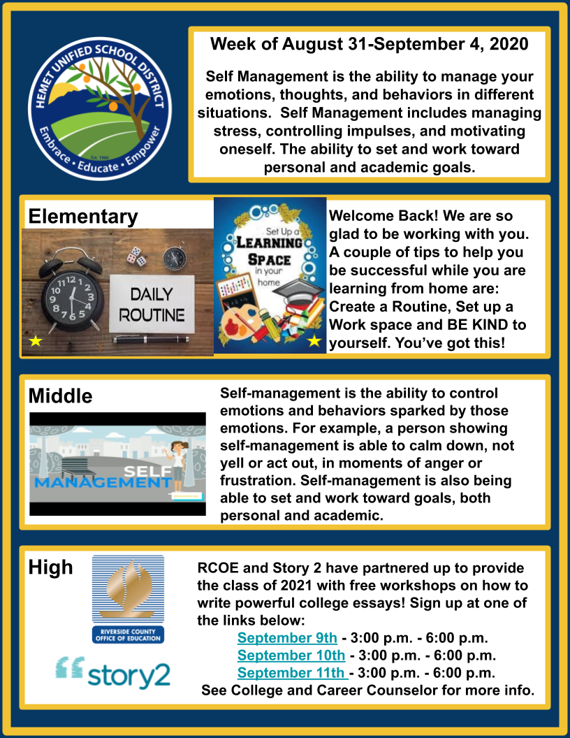 Newsletter for Week of August 31