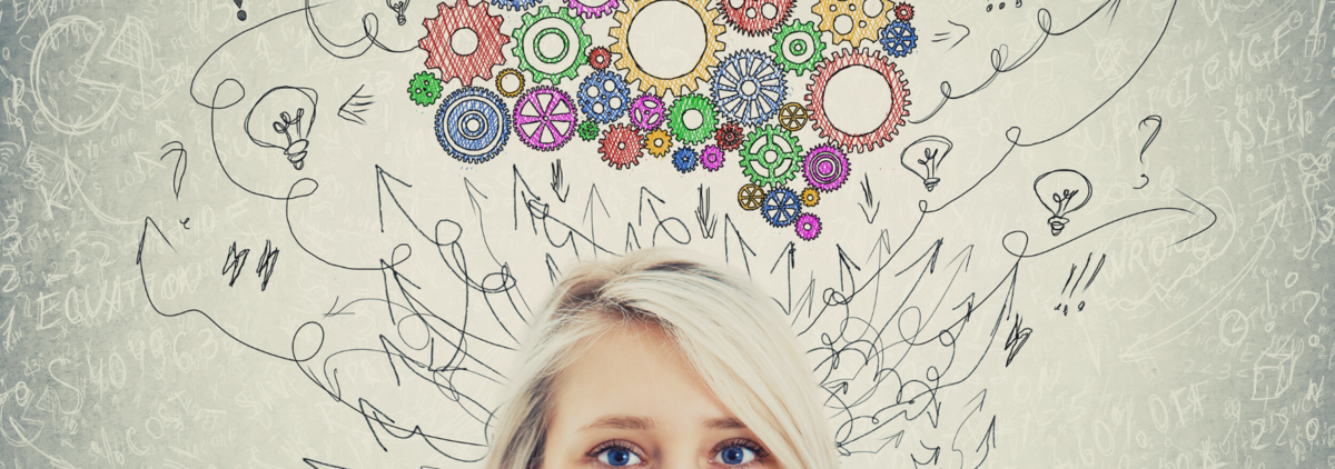 woman peeking with doodles & colorful sprockets above her head