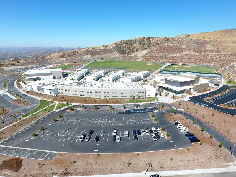 Aerial photograph of Castaic High School