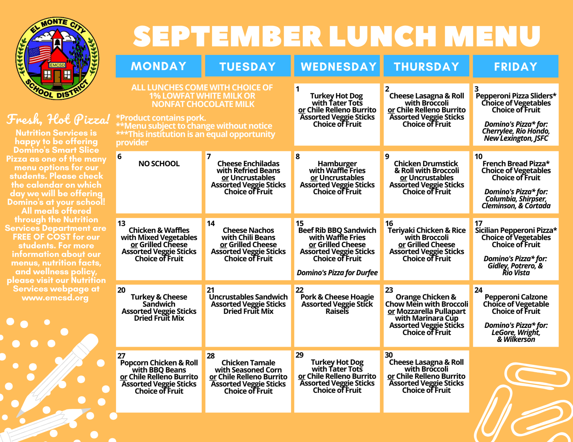 September K-8 Lunch Menu