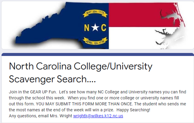 GEAR Up NC College Student Scavenger Hunt Thumbnail Image