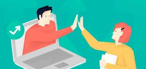 student coming out of a laptop screen to high five another student