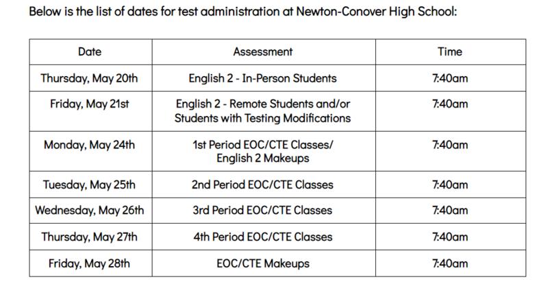 EOC Schedule