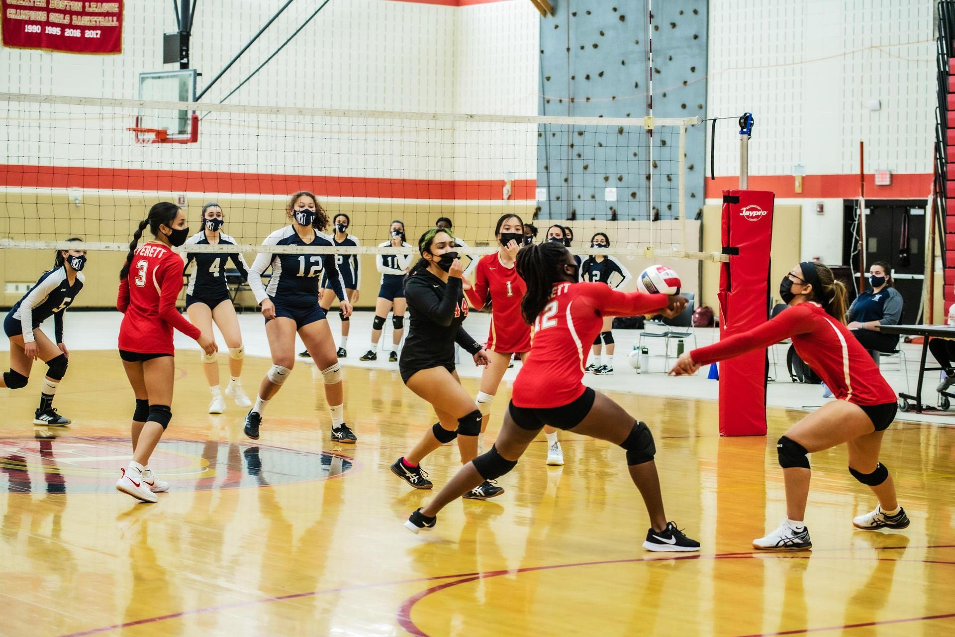 A view of a volleyball game in process