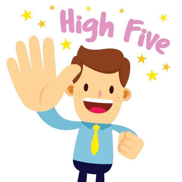 Cartoon man giving a high five to the air