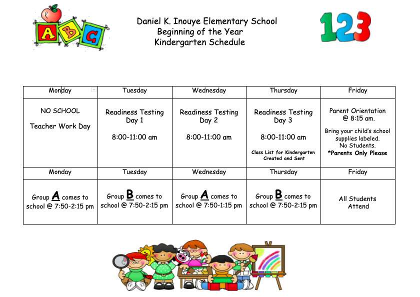 Beginning of the school year schedule