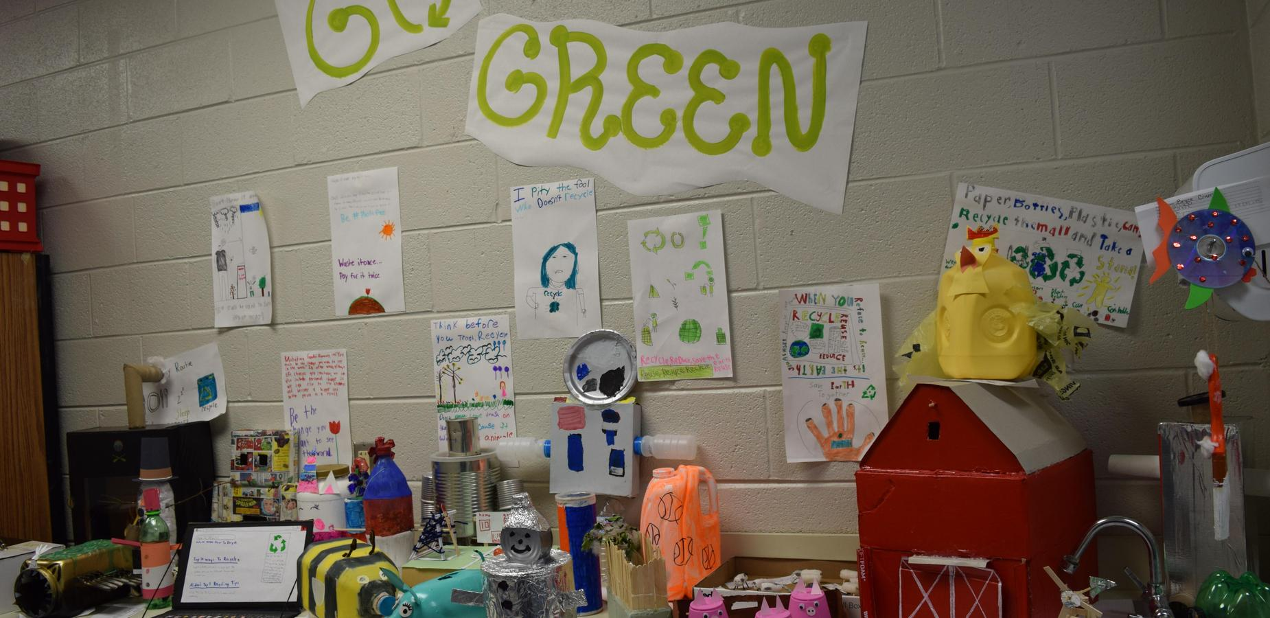 Photo of classroom projects.  Go Green!
