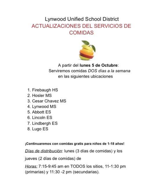 Meal Program Update / Actualizacion del Programa de Comida Featured Photo