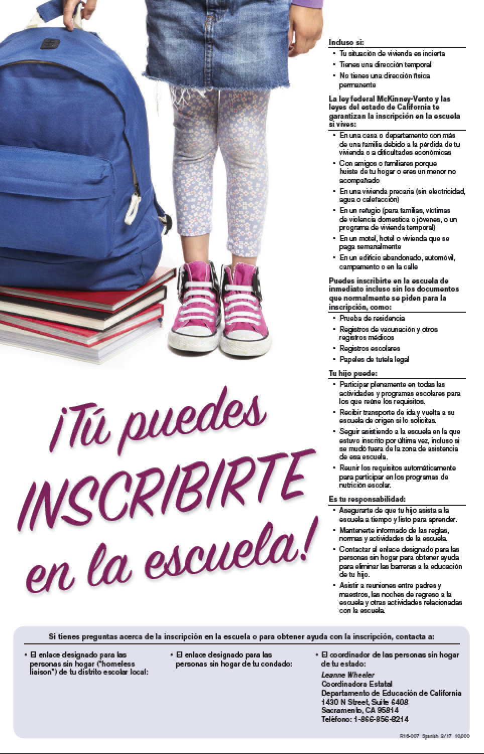 You can enroll McKinney Vento poster Spanish