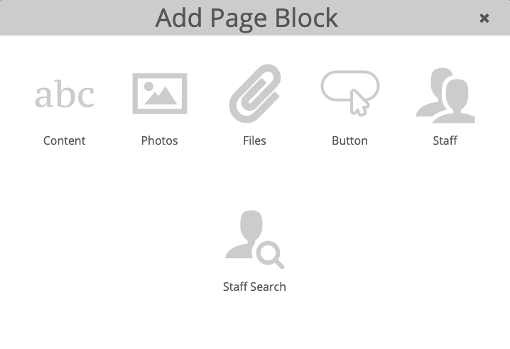 Add Page Block modal