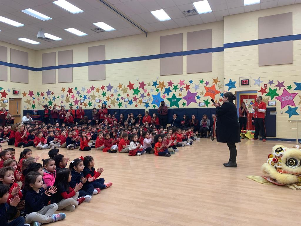 Principal Birne addressing students