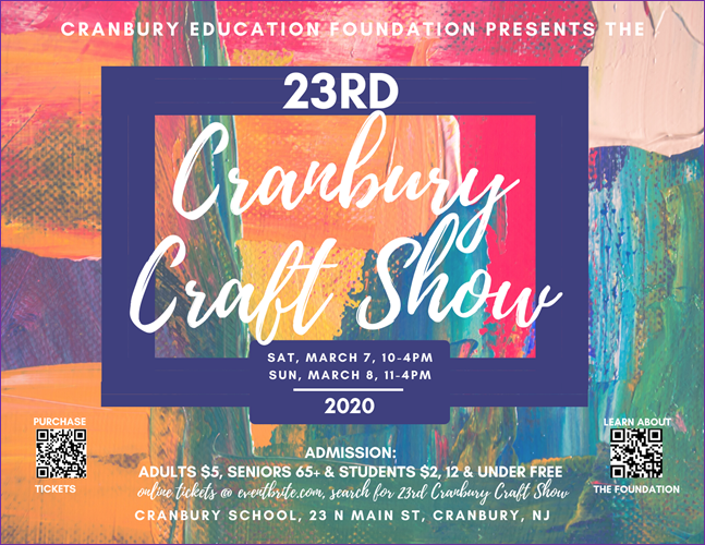 Cranbury Education Foundation Logo/Advertisement for March 7 & 8 Craft Show.