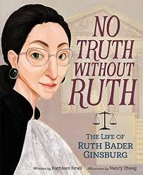 profile of Ruth Bader Ginsberg and the scales of justice