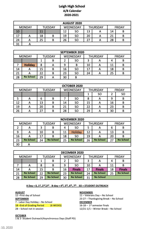 First Semester A/B Calendar