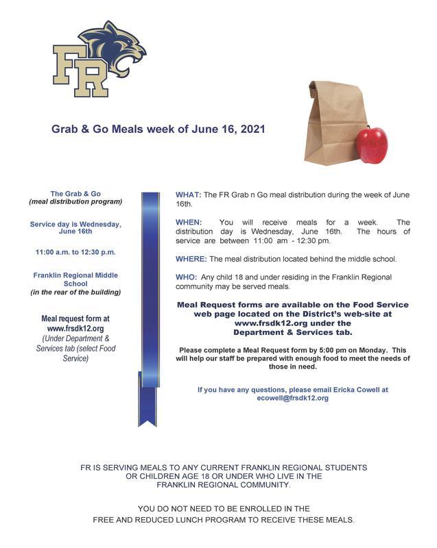 Grab & Go Meals ~ June 16, 2021