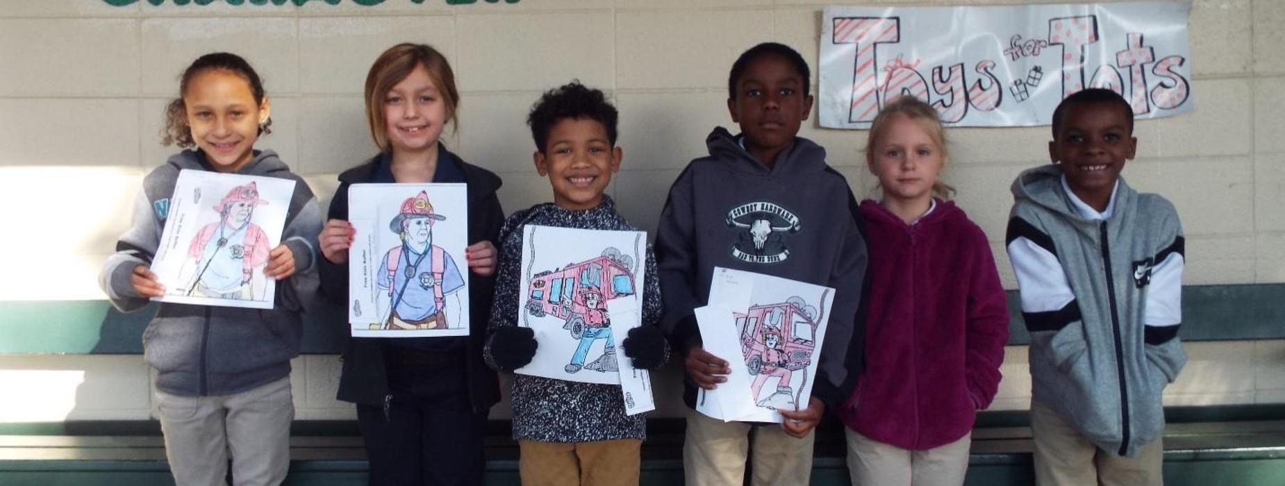 Eunice Fire Department recently held a coloring contest. Pictured are the 1st, 2nd, and 3rd grade winners. Congratulations to all of you!  L-to-R:  Ah'Reviona B, Sara L, Cameron F, Carson T, Madison A, & Corbin G