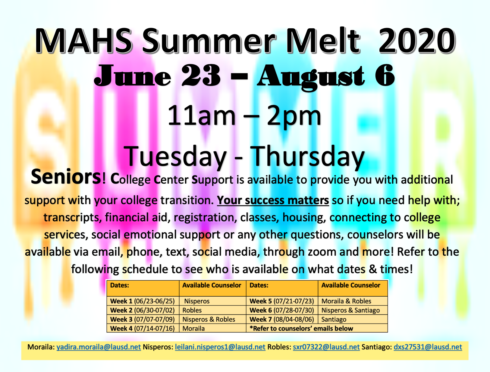 Maywood Academy HS Summer Melt 2020