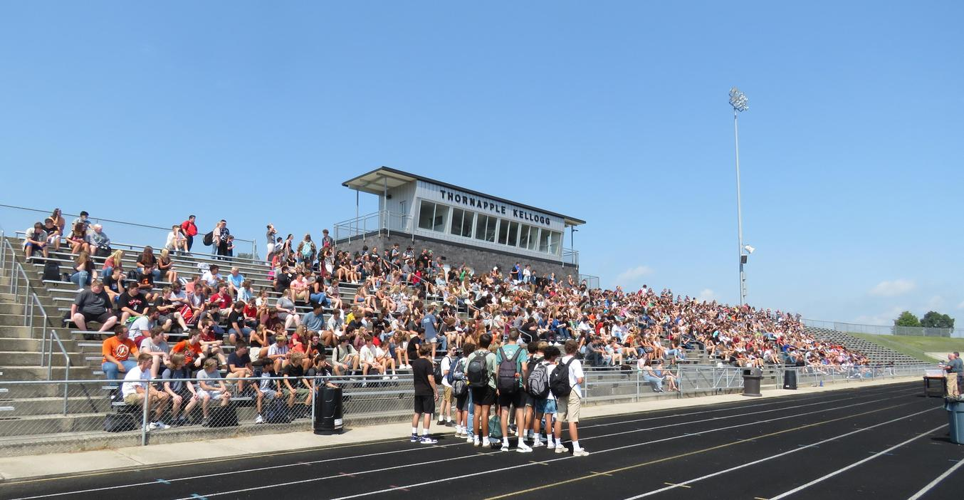 TKHS students gather in Bob White Stadium for an opening-day welcome.