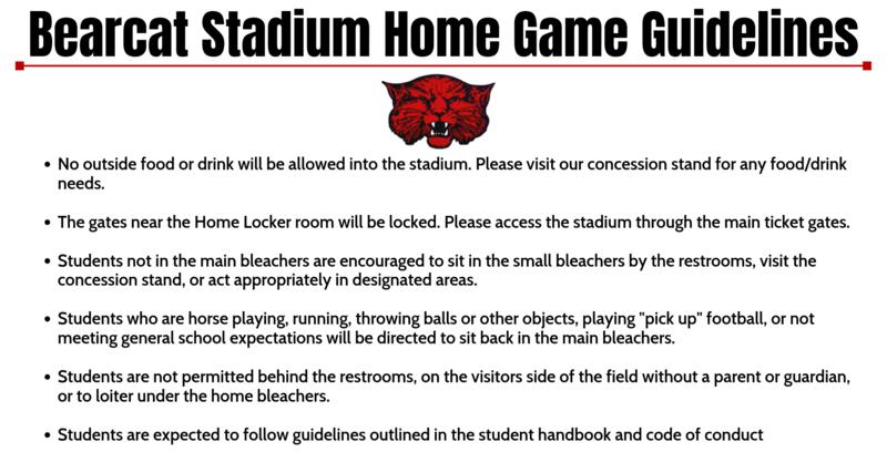 Bearcat Stadium Home Game Guidelines