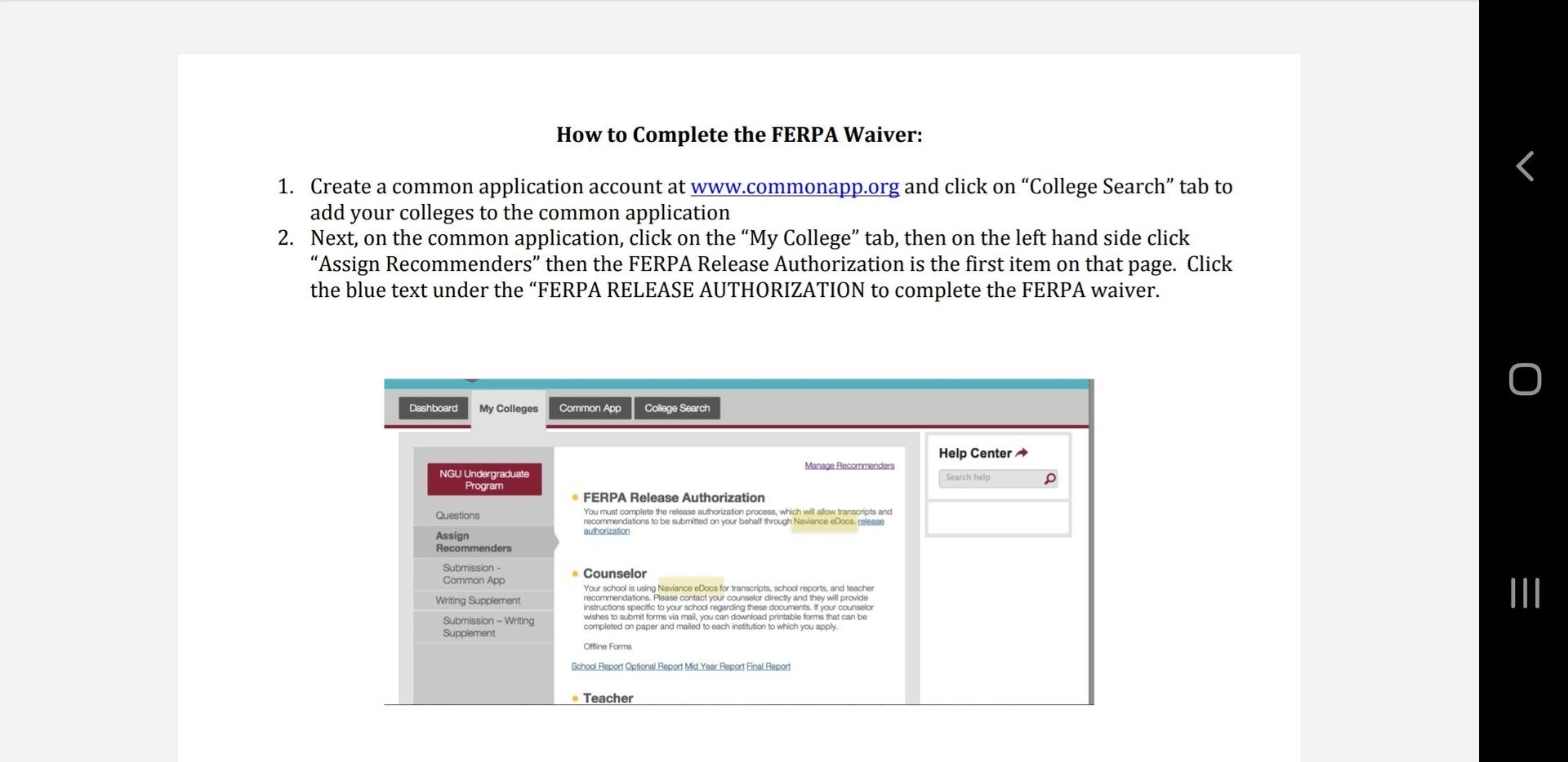 How to Complete the FERPA Waiver