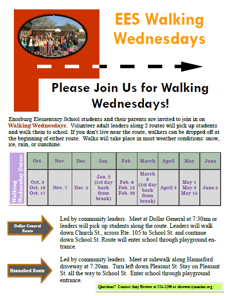 Directions for Walking Wednesdays