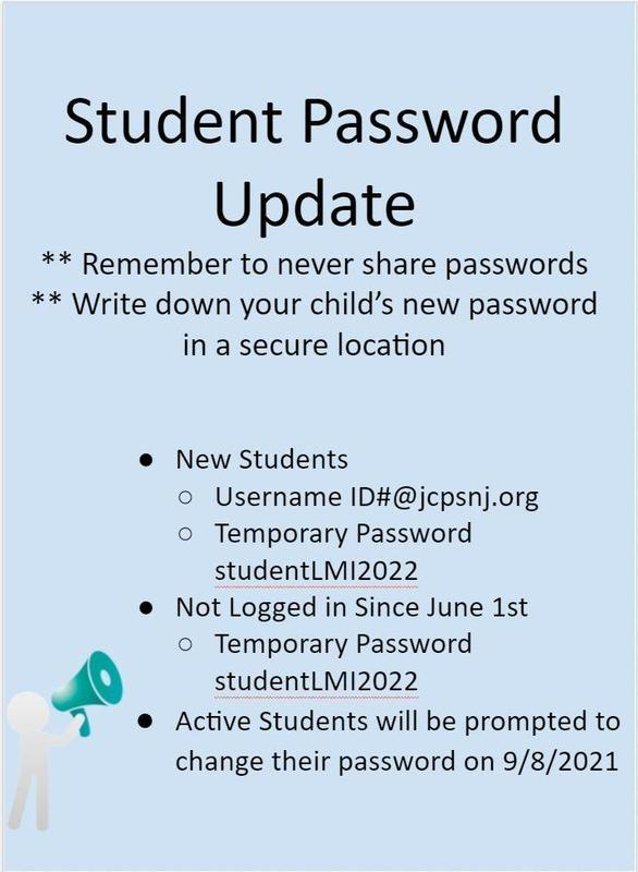How to update your Student jcpsnj.org password