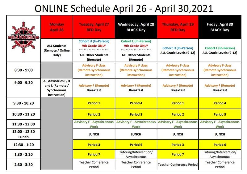 ONLINE Only Schedule for the week of April 26 - April 30, 2021 Featured Photo