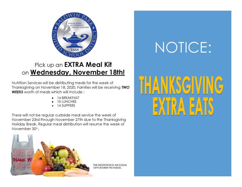 Families can pick up extra meal kits for the week of Thanksgiving on Wednesday, Nov. 18.