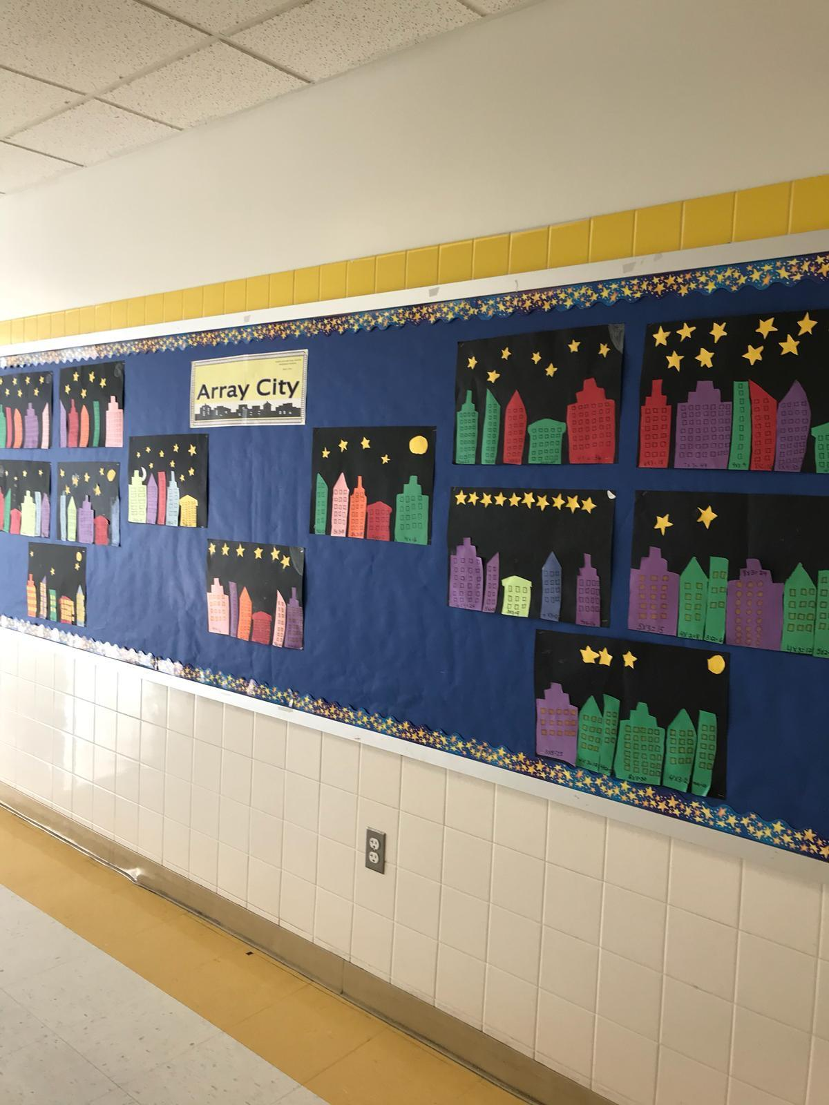 Array city bulletin board of building skyline