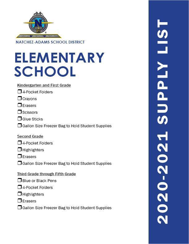 2020-2021 School Supply List