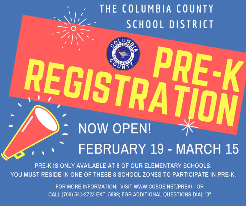 Pre-K Registration open today through March 15.