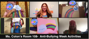 Students showing their rainbow projects