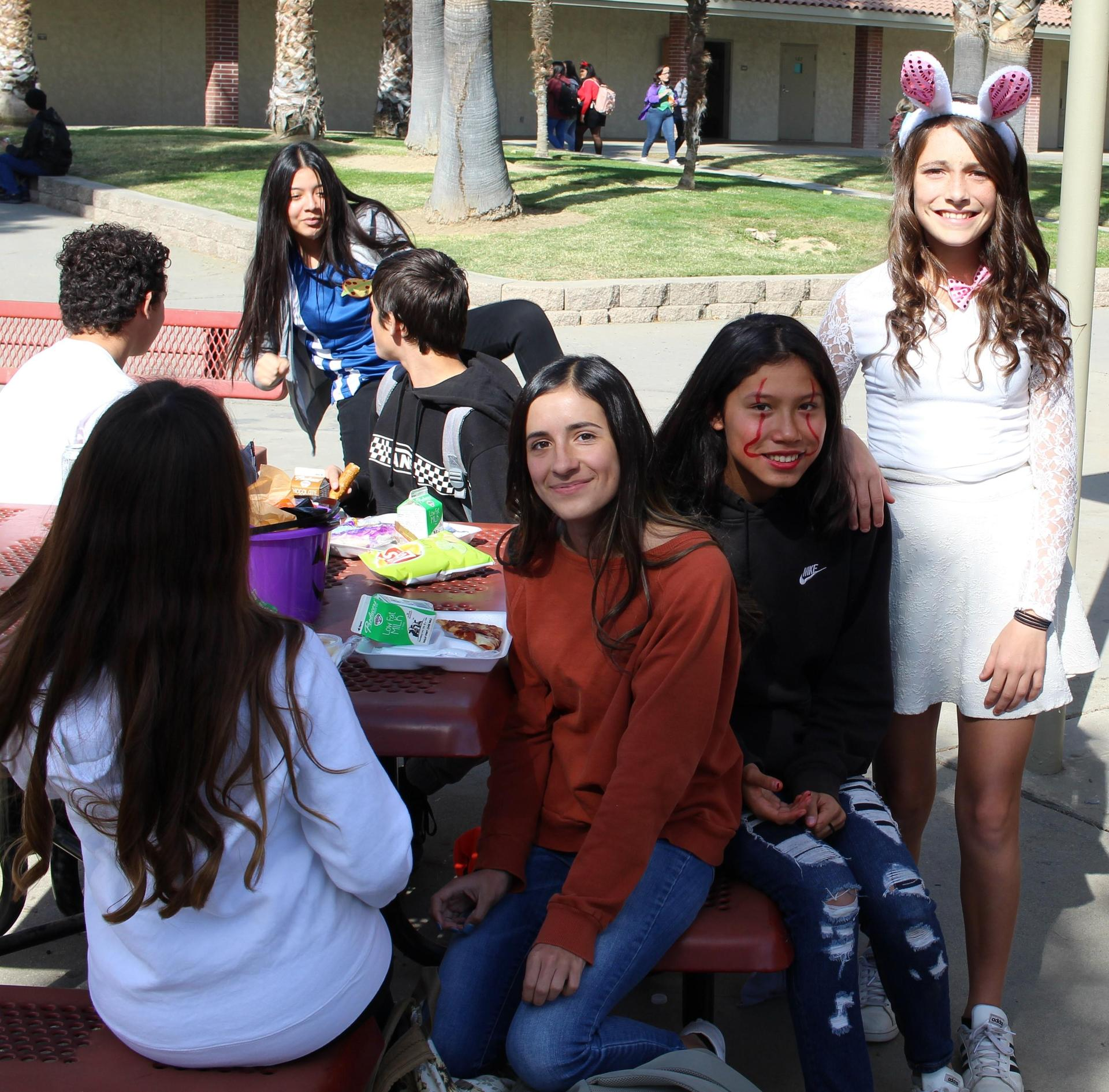 Karla Ceja, Alexis Capehart, Aaliyah Lopez, Maudry Groomes at lunch