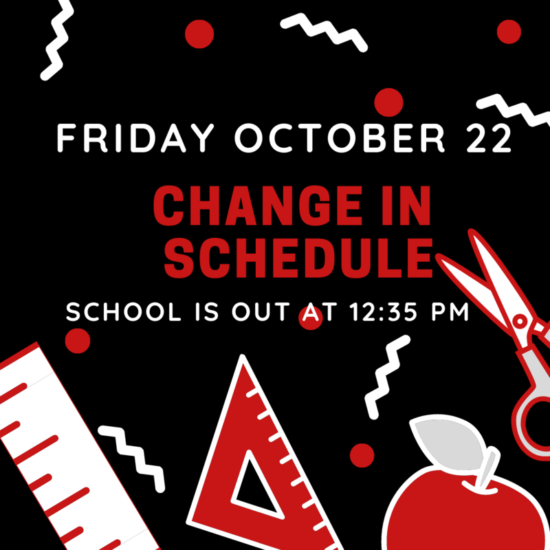 Change in Schedule for October 22, 2021 Featured Photo