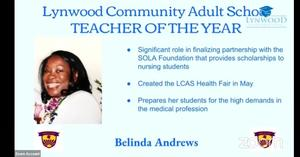 Ms. Andrews 2020-2021 LCAS Teacher of the Year