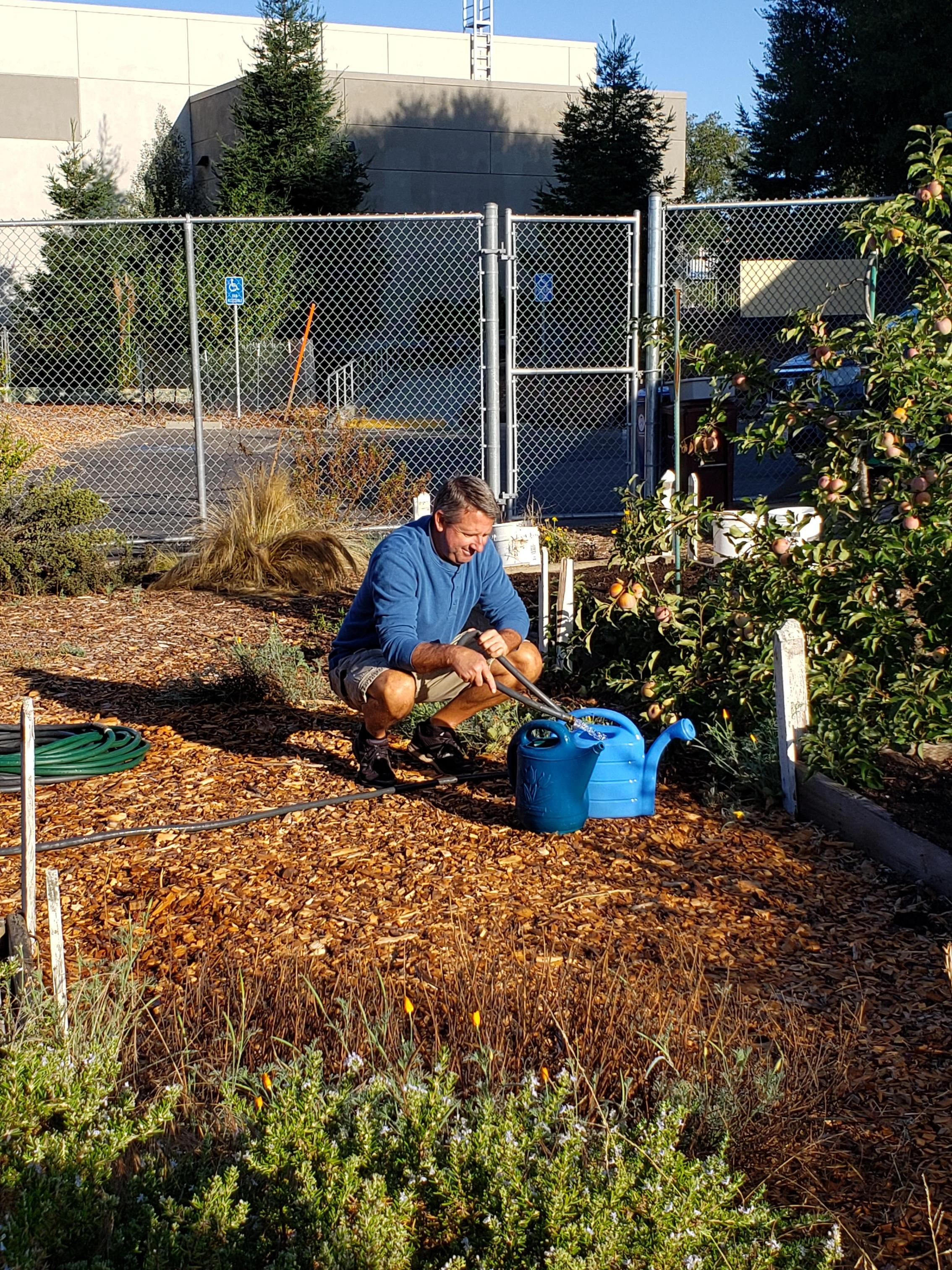 Teacher in garden