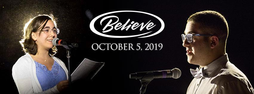 believe event banner with student speakers and October 5 date
