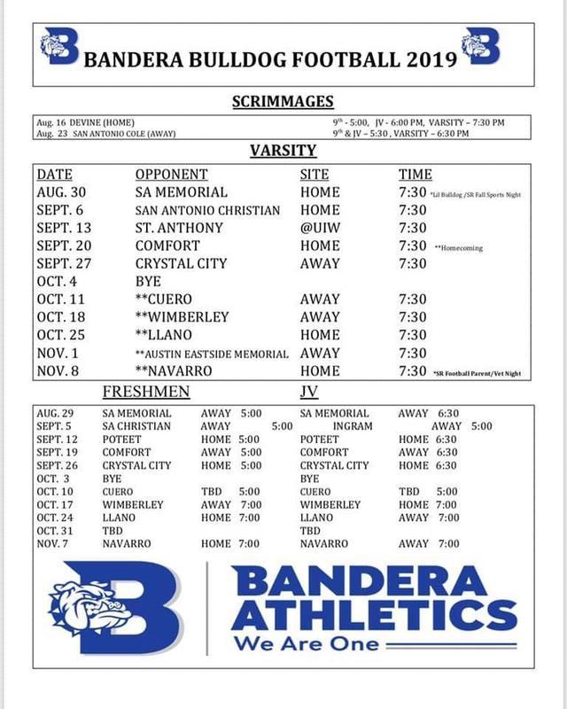 Bandera Bulldog Football Calendar