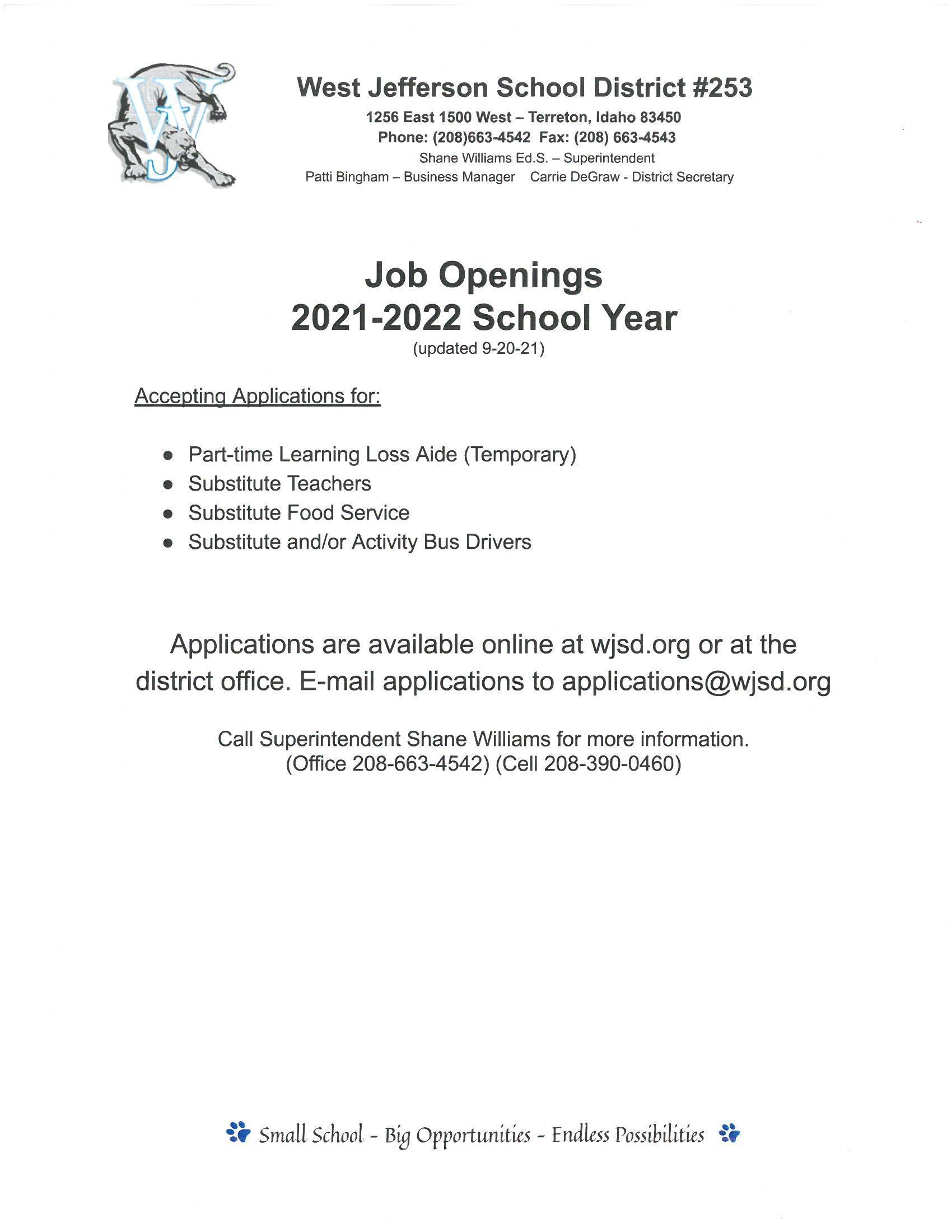 Job Openings 9/21/21