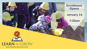 Kids at the groundbreaking with the learn 'n grow logo and tag stating enrollment begins January 14.