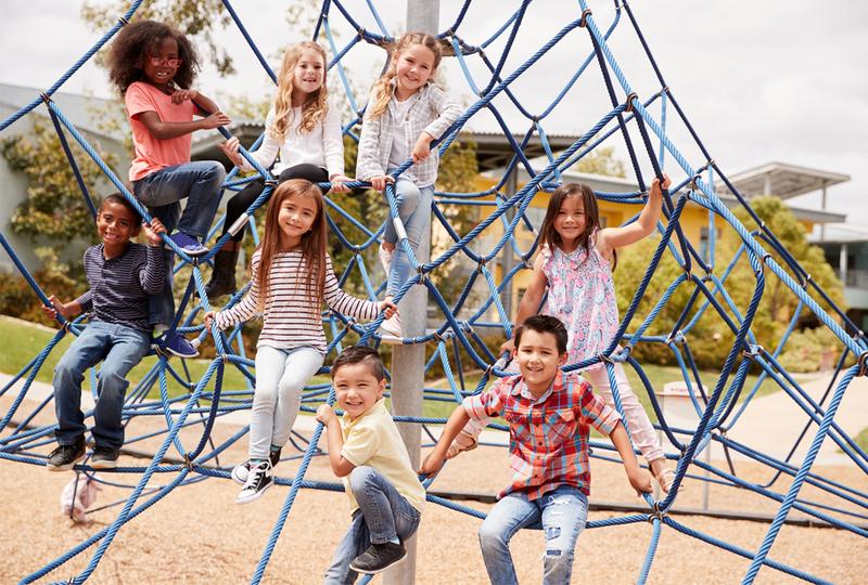 Kindergarten students on playground