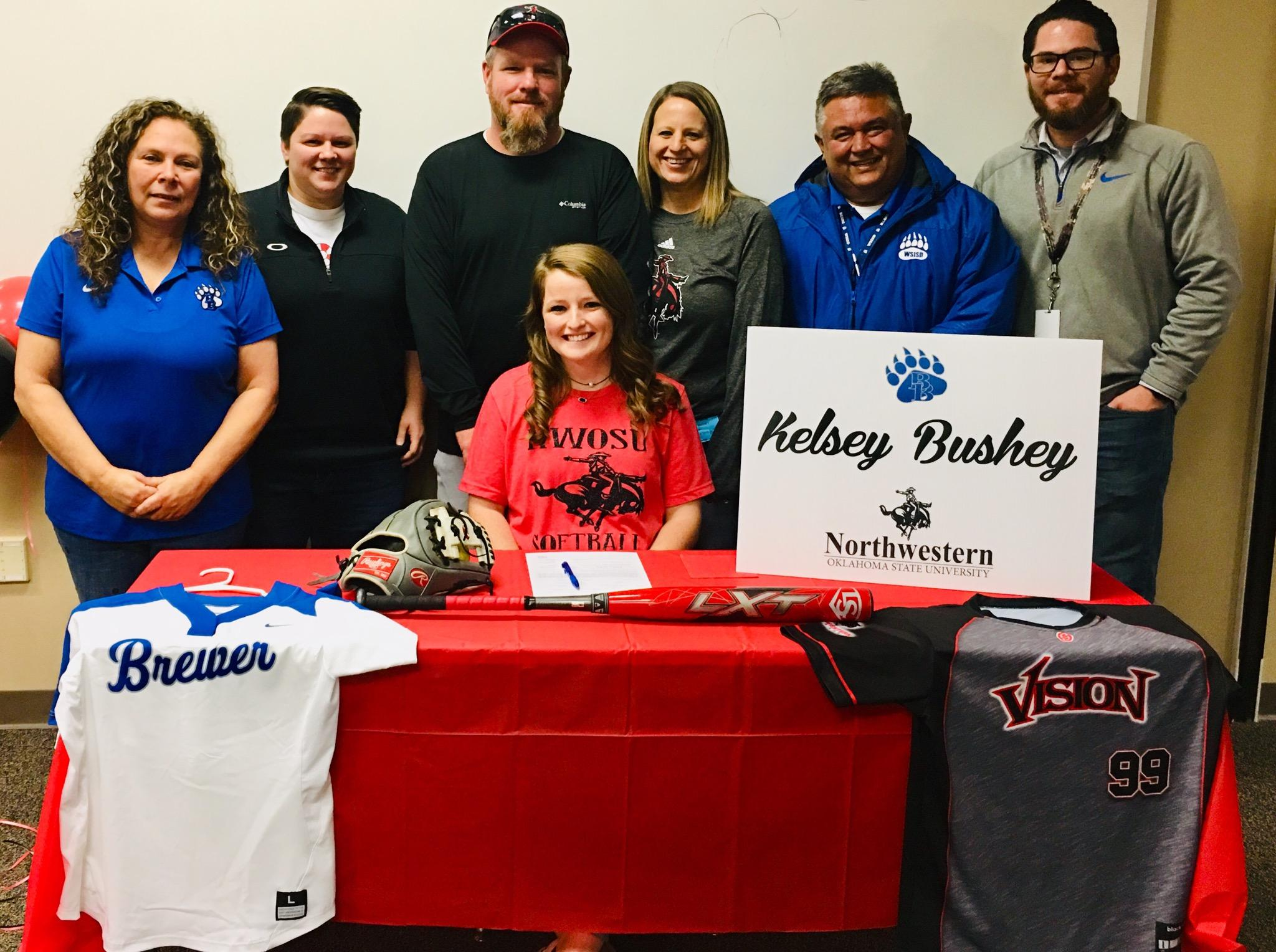 Brewer High School senior Kelsey Bushey signed to play softball at Northwestern Oklahoma State University. She is a four-year letterman for the Lady Bear softball team.
