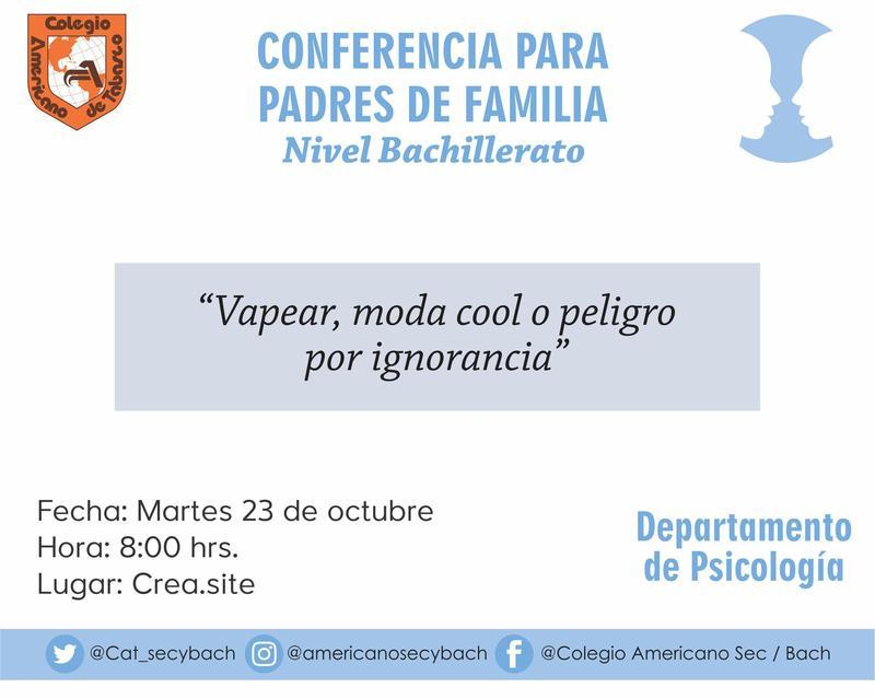 Bachillerato: Conferencia para padres de familia Featured Photo