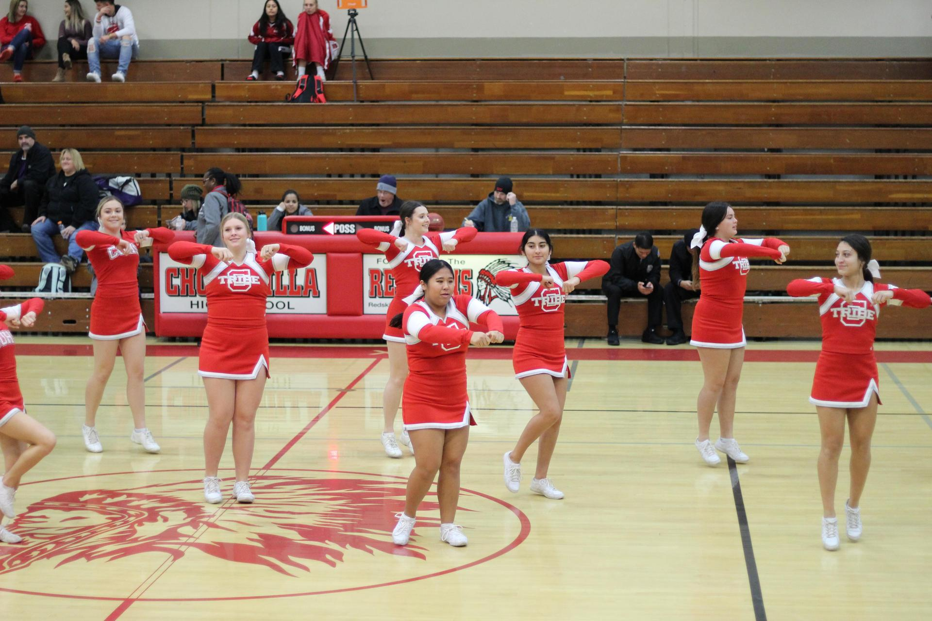 Varsity Cheer at Girls Basketball against Fresno Christian