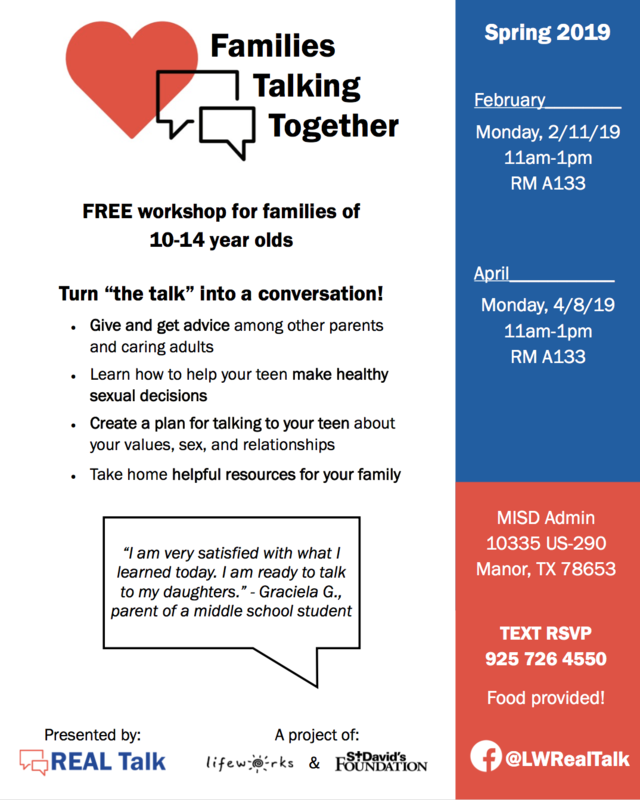 Flyer for Families talking together