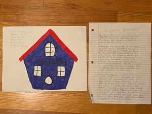 Sierra's bird house design drawing and information
