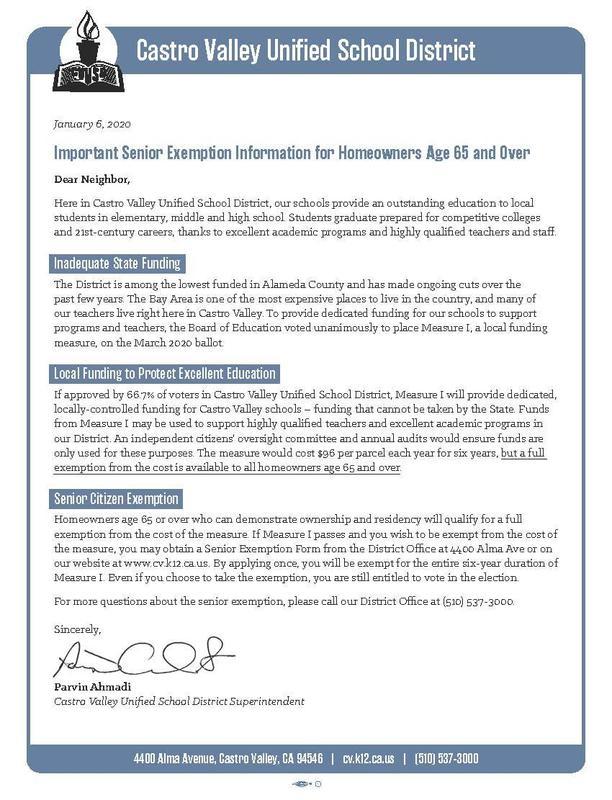 senior exemption letter