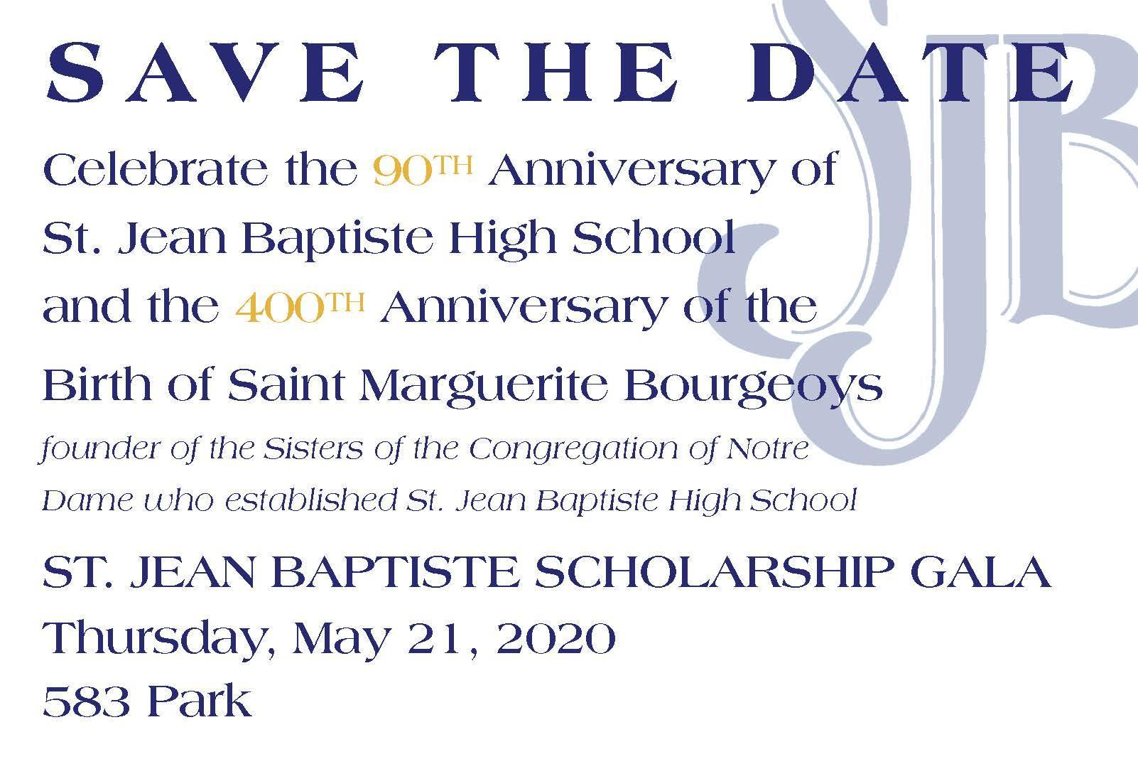 Save the date blue text on white background