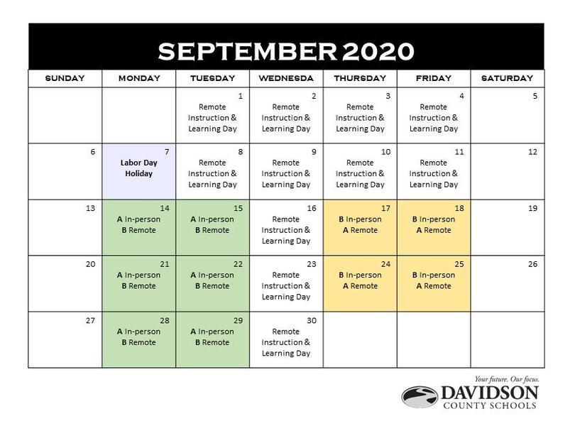 September Calendar for Davidson County Schools