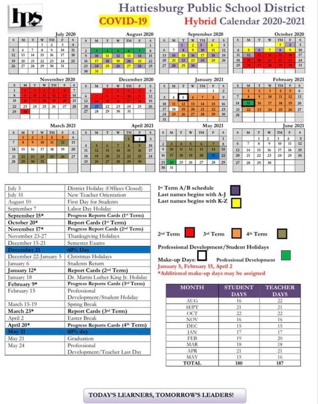 2020-2021 Hybrid Calendar